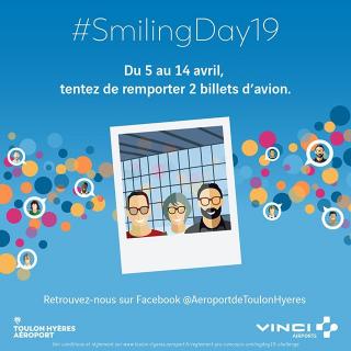 [ Jeu #concours 📢 ] A l'occasion du #SmilingDay19 de retour vendredi 5 avril à @Aeroport_Toulon , tentez de gagner un aller/retour pour 2 personnes vers Nantes avec @hopinfos , nouvelle ligne 2019 ! ✈️ #DepartToulonHyeres. Plus d'infos  ici : https://www.facebook.com/AeroportdeToulonHyeres